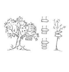 Tree with sign hand drawn signs vector