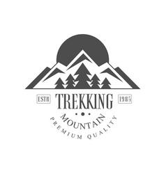 trekking mountain premium quality estb 1985 logo vector image