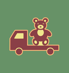 Truck with bear cordovan icon and mellow vector