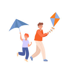 Two brothers playing with kites vector