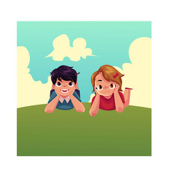 two caucasian kids children lying on grass under vector image