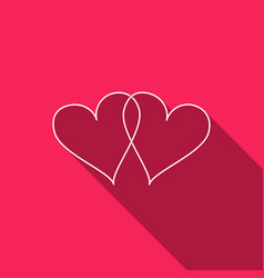 two linked hearts icon isolated with long shadow vector image