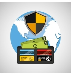 wallet money banking safe shield protection vector image