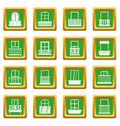 Window forms icons set green vector