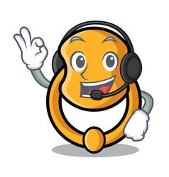 With headphone vintage door knocker on mascot vector