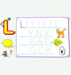 Worksheet for kids with letter l for study vector