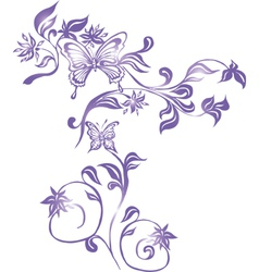Background with Butterflies and Ornament vector image vector image