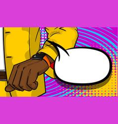 black businessman looking at watch pop art vector image vector image