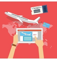 book buy plane flight ticket online via internet vector image