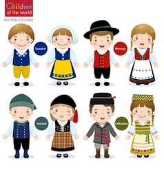 Children of the world Sweden Norway Iceland vector image vector image