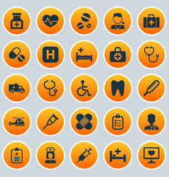 medicine icons set collection of polyclinic drug vector image vector image