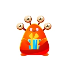 Red Toy Monster Holding Wrapped Gift vector image