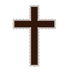 silhouette brown color wooden cross with swirl vector image