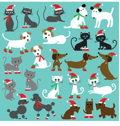 Christmas cats and dogs vector