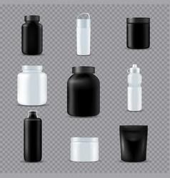 fitness sport bottles realistic transparent vector image