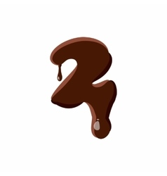 Number 2 from latin alphabet made of chocolate vector image vector image