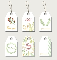 Set of floral gift tags vector image