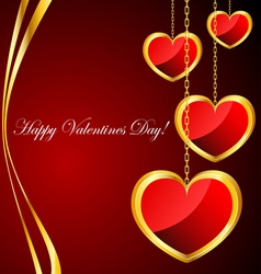 Valentine background with heart pendants vector image vector image