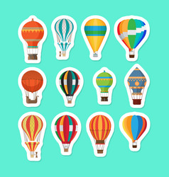 vintage hot air balloons stickers set vector image