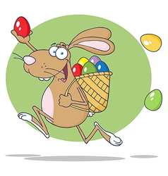 Brown Easter Rabbit Running With A Basket And Egg vector image vector image
