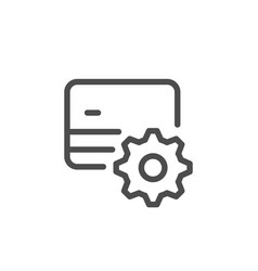 credit card setting line icon vector image vector image