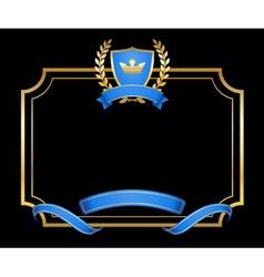 Laurel wreath gold icon shield frame vector image