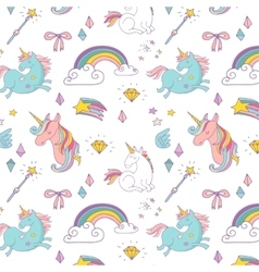 Magic hand drawn pattern - unicorn and fairy vector image vector image