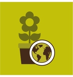 Map earth environment ecological green flower vector