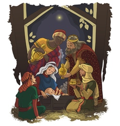 nativity scene jesus mary joseph and three kings vector image