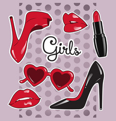 stickers set for girls over cute purple background vector image vector image