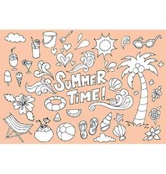 Summer Fun Hand Drawn Doodles Sketch vector image vector image