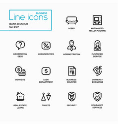 bank branch - modern single line icons set vector image