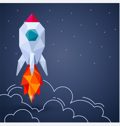 banner with space rocket on gray background vector image