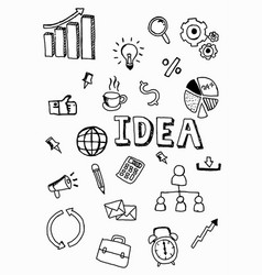 business doodle icon with idea word vector image