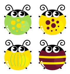 Cute colorful beetle set isolated on white vector image