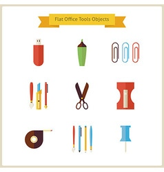 Flat Education School and Business Office Tools vector image