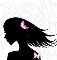 Woman profile with pink butterflies vector image