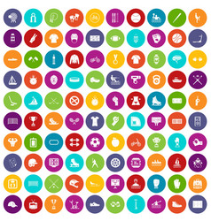 100 sport team icons set color vector