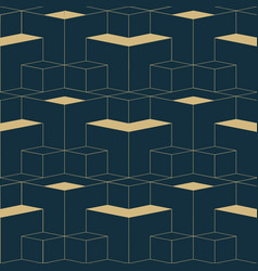abstract geometric seamless patterngolden cubes vector image