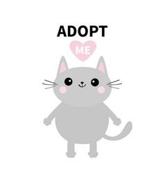 Adopt me dont buy gray cat standing pink heart vector
