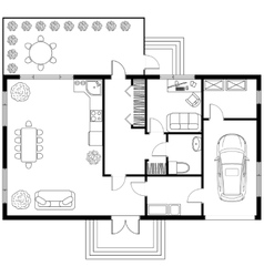 Architectural plan of a house with garage vector