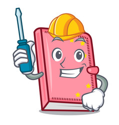 Automotive diary mascot cartoon style vector