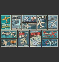Aviation air transport retro posters set vector