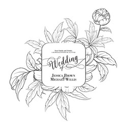 awesome vintage label of peony flowers vector image