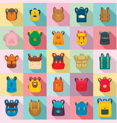 backpack school travel sport icons set flat style vector image