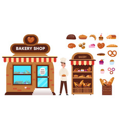 Baking shop set confectioner sells buns cakes vector