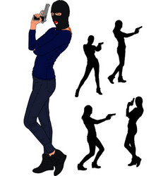balaclava gun girl vector image