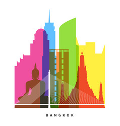 Bangkok landmarks bright collage vector