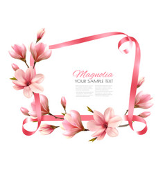beautiful nature background with blossom branch vector image