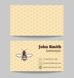 Beekeeper natural honey card vector